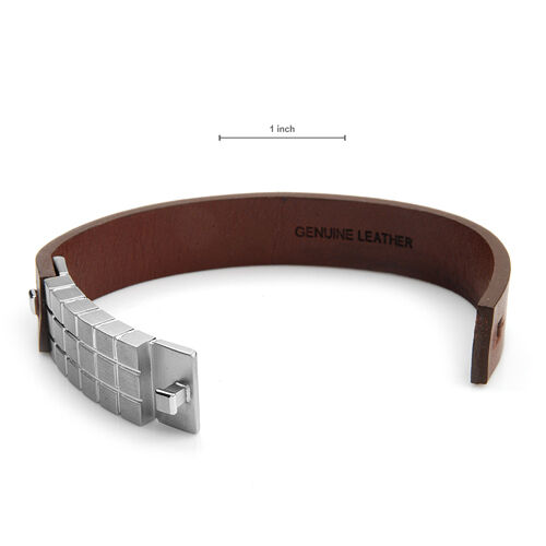 DYRBERG//KERN of DENMARK New Bracelet Made of Stainless Steel and Brown Leather