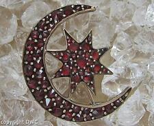 Granatbrosche Brosche mit Granat Granate vergoldet Antik Mond und Stern böhmisch