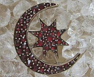 Granatbrosche Brosche Mit Granat Granate Vergoldet Antik Mond Und Stern Böhmisch Hohe QualitäT Und Geringer Aufwand