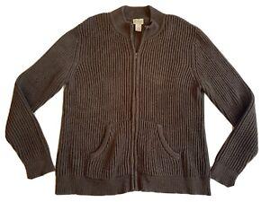 LL-Bean-Mens-Size-XL-Regular-Brown-Full-Zip-Cotton-Knit-Sweater-EUC