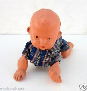 1940-Rare-Vintage-Old-Wind-Up-Baby-Crawling-Toddler-Celluloid-Working-Toy-Japan