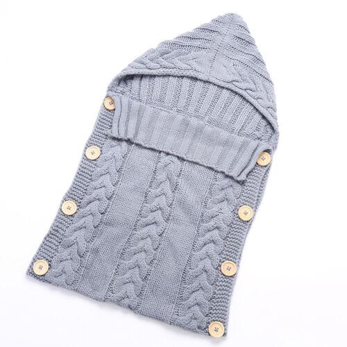 Newborn Baby Infants Knitted Crochet Swaddle Wrap Swaddling Blanket Sleeping Bag