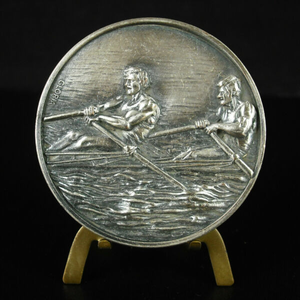 Agressif Médaille Course D'aviron Vierge D'attribution Au Revers C1980 50mm Rowing Medal