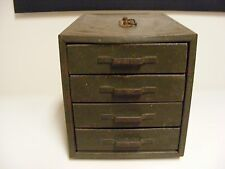 Vintage Green 4 Drawer Metal Storage Parts Cabinet