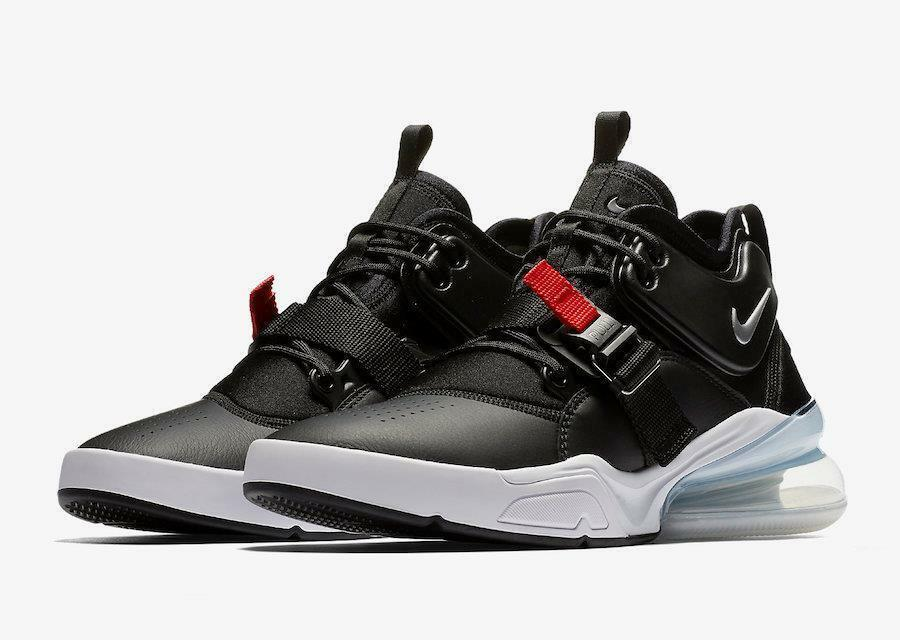 Nike Air Force 270 shoes Black Metallic Silver Red AH6772-001 Men's Sz 8.5 NWOB
