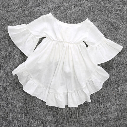 2Pcs Toddler Kids Baby Girls Clothes Dress Tops+Denim Flared Pants Outfits Set