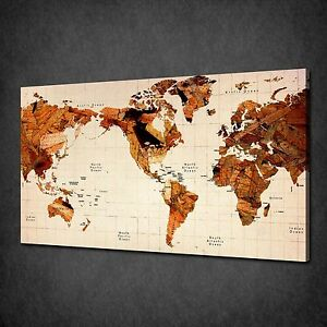 Wooden old world map vintage canvas wall art print picture poster image is loading wooden old world map vintage canvas wall art gumiabroncs Image collections
