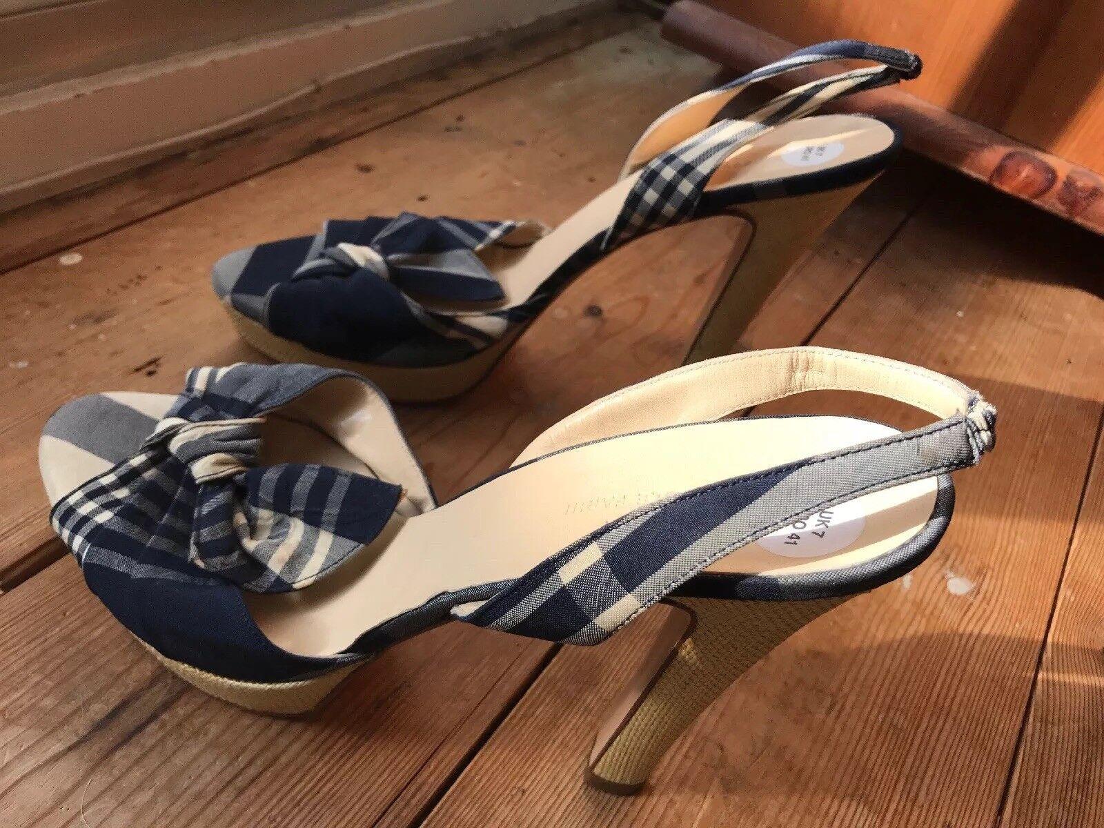 Sexy NICOLE NICOLE NICOLE FARHI Blau Weiß Gingham Peep Toe Sling Back Stiletto Heel UK7 EU41 303033