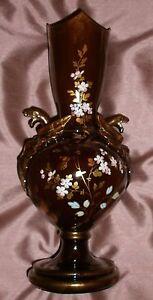 Vase-Napoleon-III-en-faience-marron-doree-fleurs-emaillees-Anses-Griffons