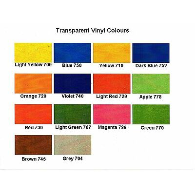 SAMPLE PACK COLOURED TRANSPARENT SELF ADHESIVE SIGN VINYL STICKY BACK PLASTIC