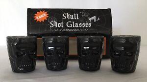 Calavera-Negra-Plastico-Chupito-glasses-set-de-4-Halloween-Decoracion-NIP