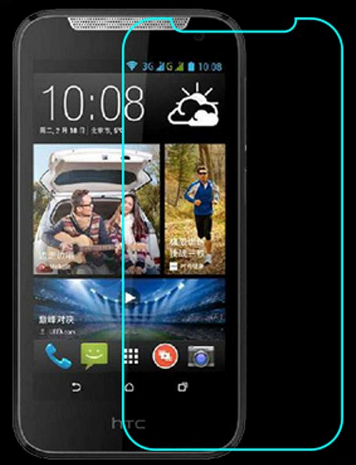 s l1600 - Protector de Vidrio Templado HTC Desire 610 Sekuritglas Lámina Cristal H9 Real