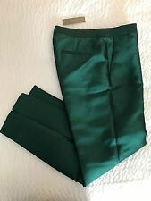 J.CREW COLLECTION CIGARETTE PANT IN HEAVY SHANTUNG SIZE 0 GREEN F2865 $198