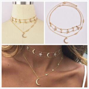 Mode-Multicouche-Collier-Tour-de-cou-cristal-etoile-lune-chaine-or-Femmes-bijoux