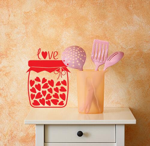 00969 Wall Stickers Adesivi Murali Decorativi Cuoricini in barattolo 30x40cm