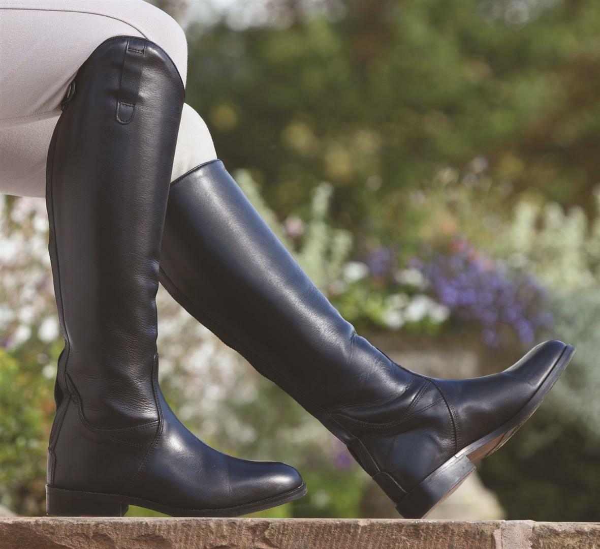 Shires Norfolk Long Leather Zip Up Horse Riding Boots   Clearance Sale