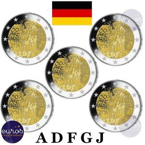 5-x-2-euros-commemoratives-ALLEMAGNE-2019-ADFGJ-30eme-A-Chute-Mur-de-Berlin