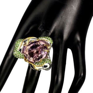 Handmade-Oval-Ametrine-30-71ct-Chrome-Diopside-925-Sterling-Silver-Ring-Size-9