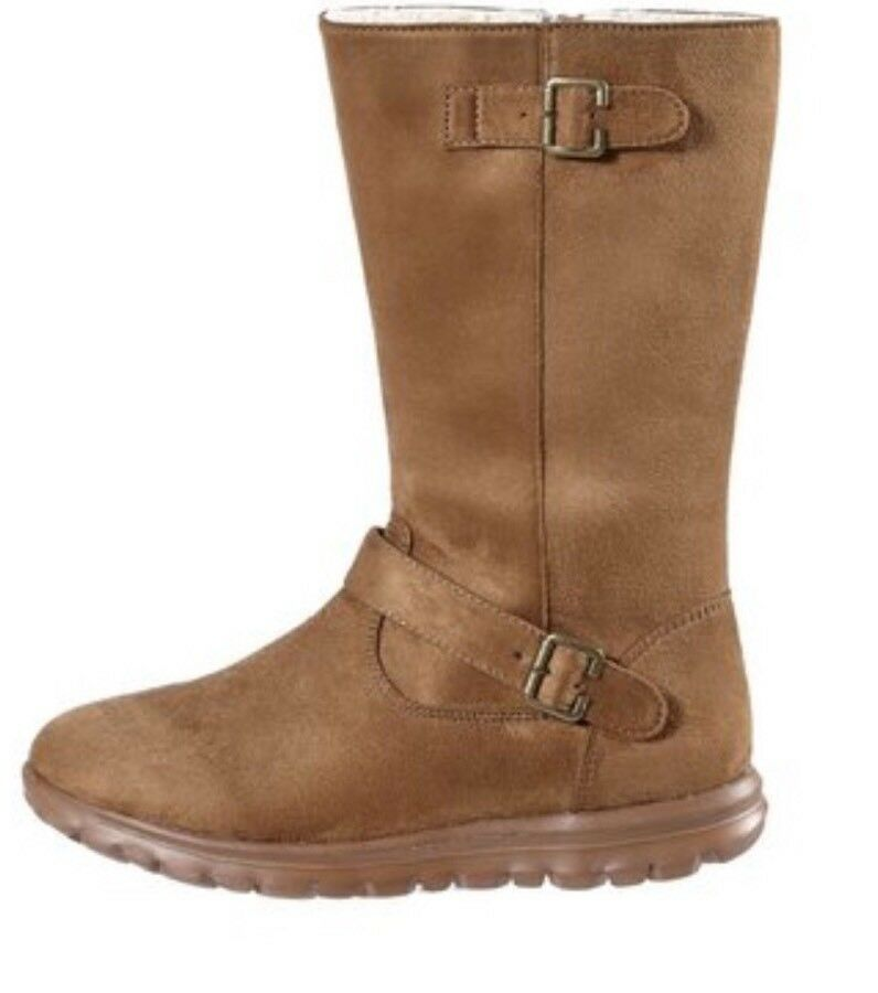 Be You Sporty Double Buckle Biker Boot Chestnut Size 6 Lightweight Fur Lined