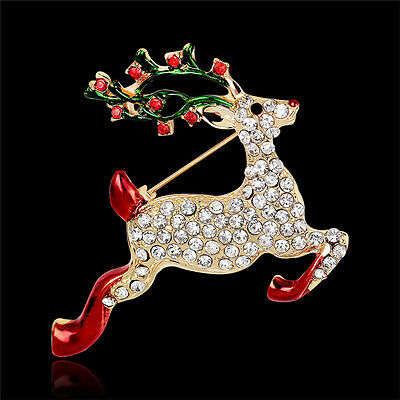 1X Rhinestone Crystals Christmas Stocking Boot Pins Brooch Xmas Gifts Gold Tone