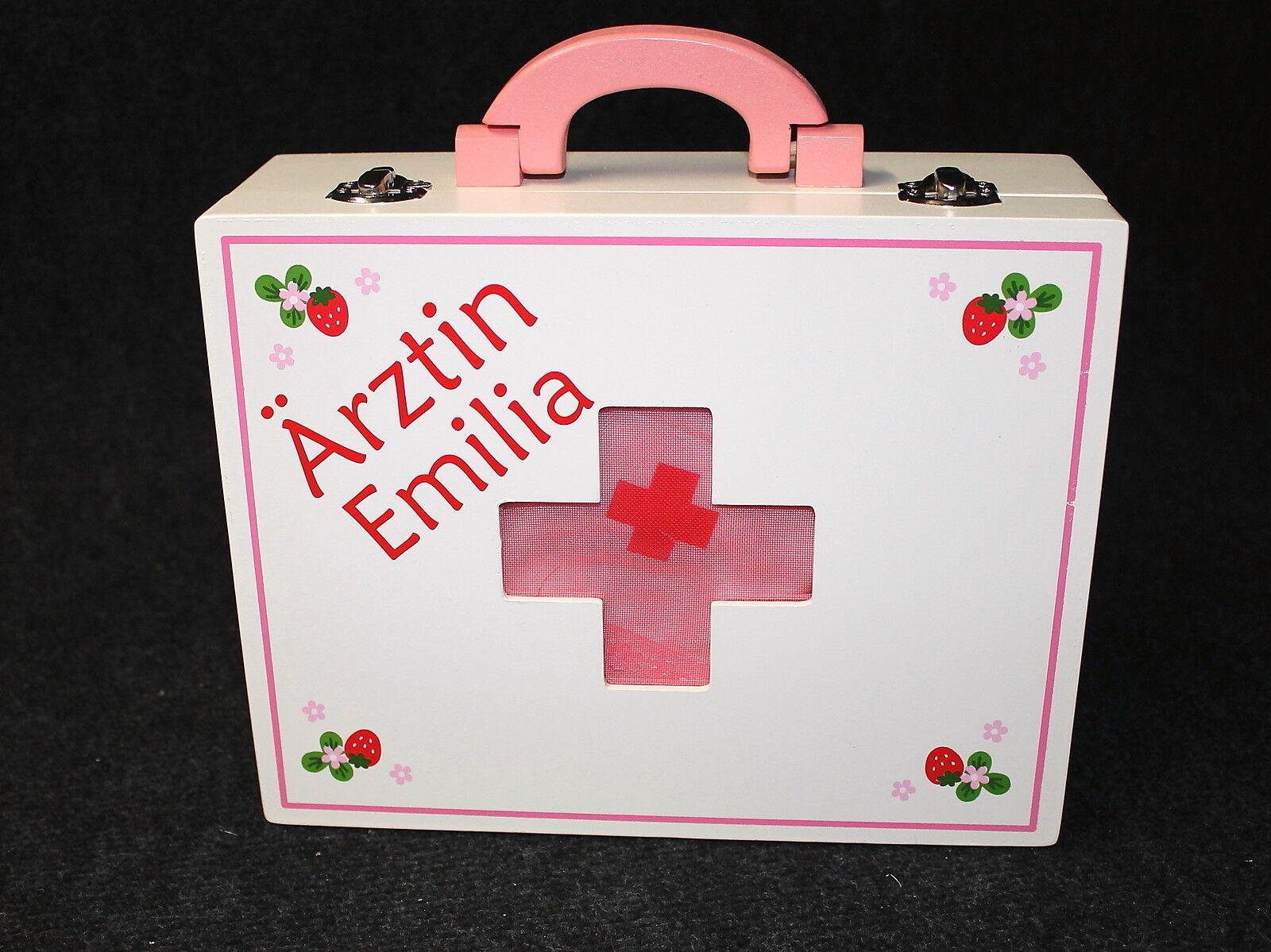 Kinder Arztkoffer Isabel Holz Doktorkoffer mit Namen des Kindes personalisiert