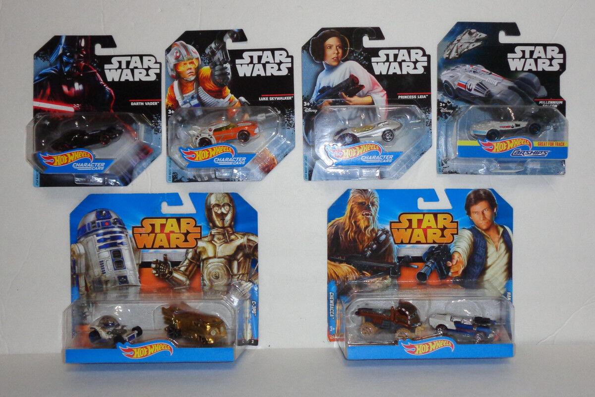 (8) Estrella Wars Hot Wheels Cocheácter coches y Cocheships (R2-D2, C-3PO, + más)  Nuevo