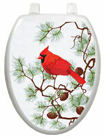 Toilet Tattoos Holiday Toilet Lid Cover Vinyl Cover Winter Cardinals