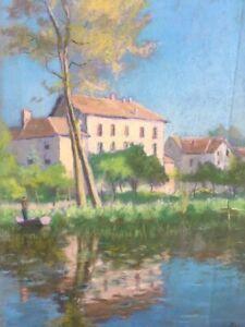 Frugal Paysage Rural Au Pastel Signature Une Pliure / Postimpressionnisme