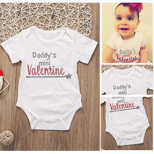Newborn Baby Girl Daddy S Mini Valentine Bodysuit Romper Jumpsuit