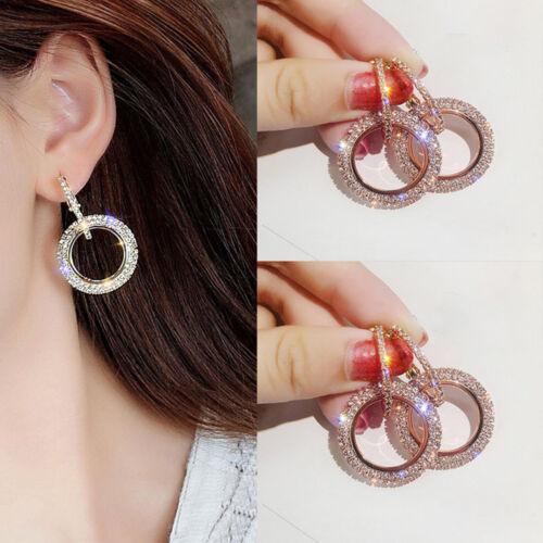 Fashion Luxury Round Earrings Women Crystal Geometric Hoop Earrings Jewelry New