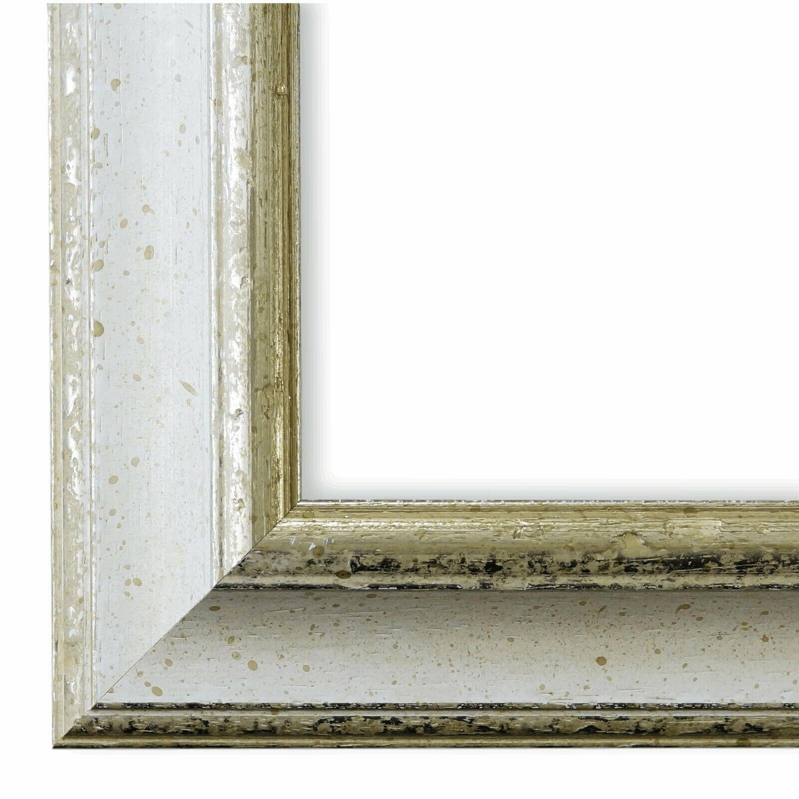 Bilderrahmen Weißs Silber Klassisch Retro Holz Genua 4,3 - NEU alle Grün