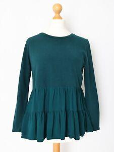 Zara Women's Size L Forest Green Tiered Smock Peplum Top w Contrast Trim