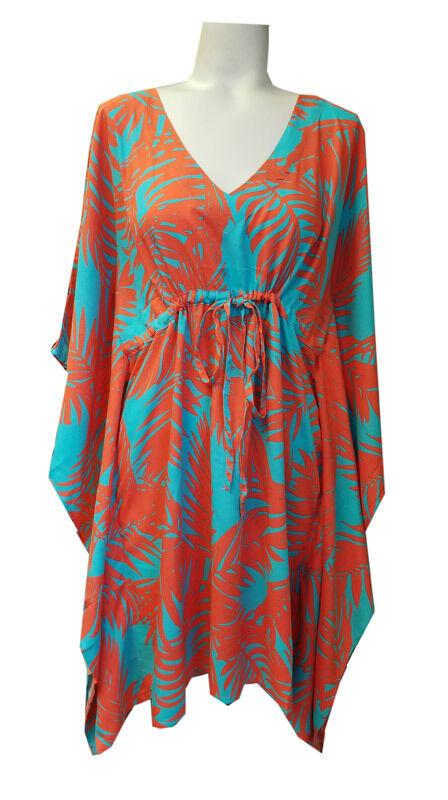 Escapada Ladies Aqua Melon Tropics Leaf Sleeve Kimono Cover Up-S M,L XL,0X 1X,2X