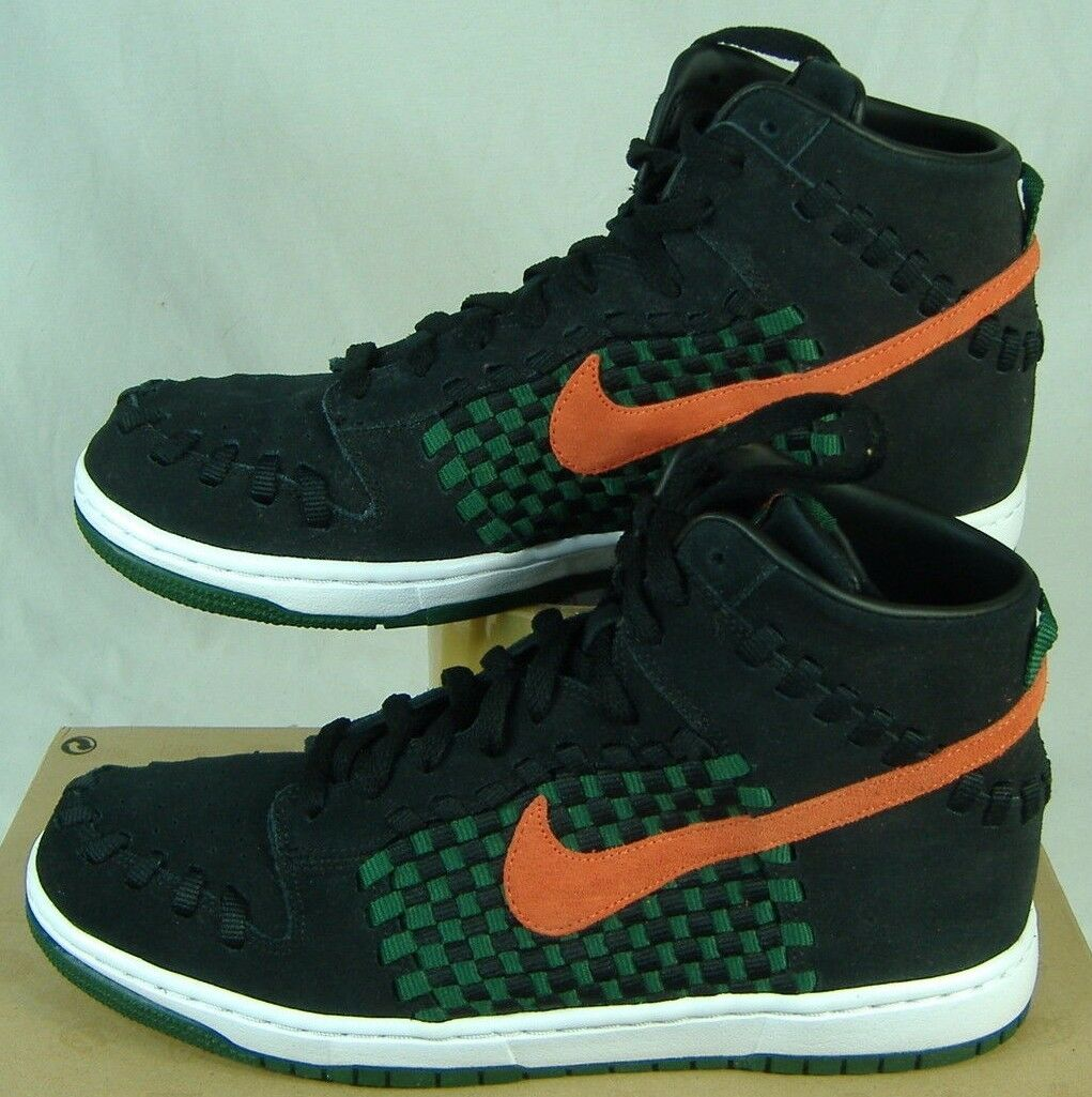New Mens 9 NIKE Dunk Woven High Top Black Checkered Shoes 100 555030-080