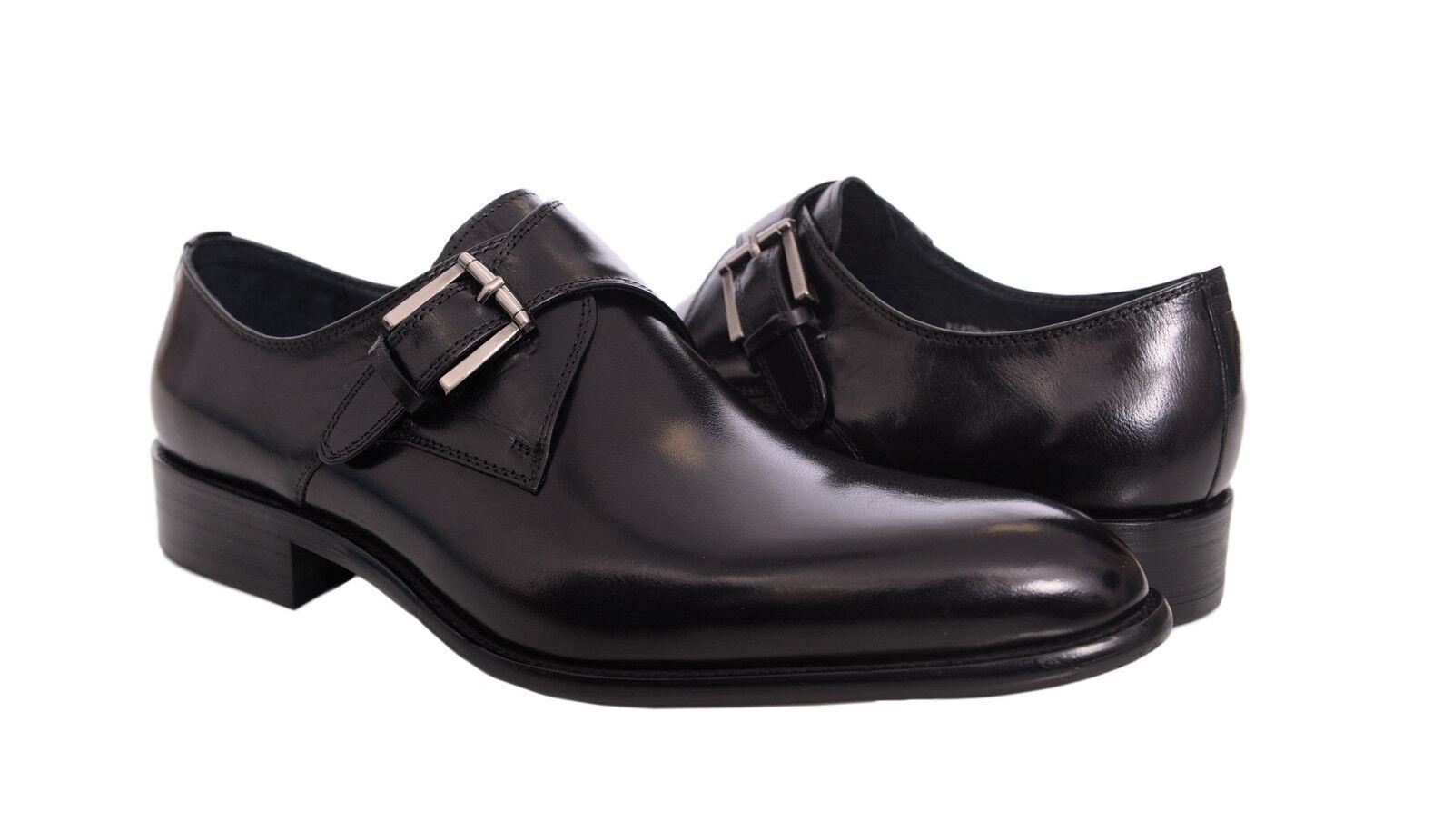 Carrucci Hombre Sólido Negro Individual Monje Correa Cuero Zapatos Vestido