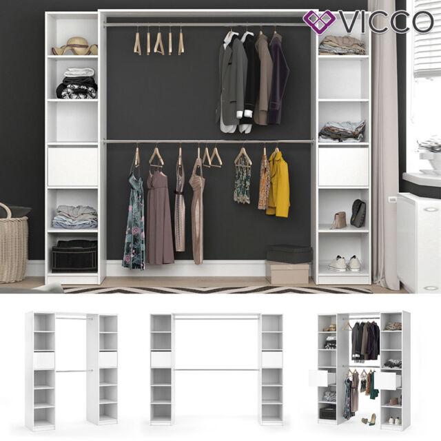 VICCO Kleiderschrank VISIT XL offen begehbar Regal Kleiderständer Schrank weiß
