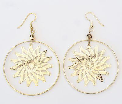 Nuovo 8cm Orecchini Goldfaben Con Fiori/fiori Pattern Orecchini Creolen-mostra Il Titolo Originale
