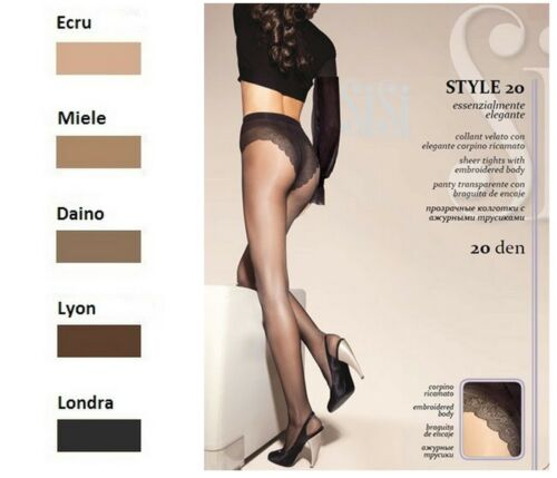 S Taille 2 SISI STYLE 20 Collant voile avec culotte slipée dentelle Lyon