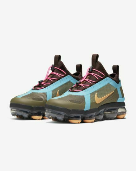 Nike Air VaporMax Athletic Shoe for Size 8.5 - Olive/Amber Rise/Teal Nebula