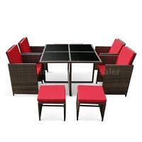 Ikayaa 9pcs Patio Dining Table Chair Sofa Set Garden Furniture Red Cushion R7z8 on sale