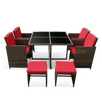 Ikayaa 9pcs Patio Dining Table Chair Sofa Set Garden Furniture Red Cushion R7z8 on sale