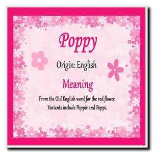 Poppy Personalised Name Meaning Coaster   eBay