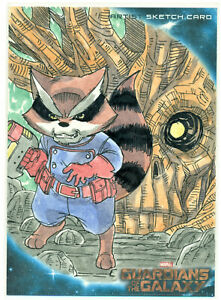 2014-GUARDIANS-OF-THE-GALAXY-OVERSIZED-JUMBO-5X7-SKETCH-CARD-ROCKET-RACOON