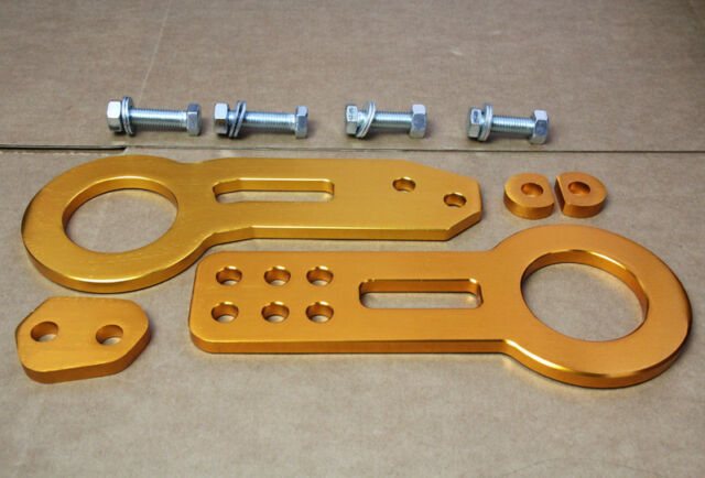 Universal Billet Aluminum Racing Front Rear Tow Hook Kit CNC JDM Anodized Gold