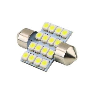 16 SMD LED 1210 31mm Car Interior Dome Festoon Bulb Light Lamp White DC 12V TB