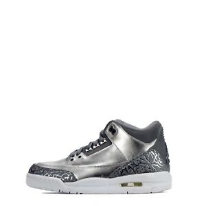 Diplomatique Air Jordan 3 Retro Premium Héritière Junior Youth Unisexe Chaussures En Argent Métallisé-afficher Le Titre D'origine