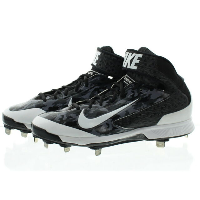cb33442f87f4 Nike Air Huarache Pro 3 4 Mid Metal Mens Baseball Cleats Black Gray Camo 9  for sale online