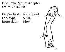 Shimano Disc Brake Adapter SM-MA-R160-PS Rear 160mm Rotor Post//A-STD Mount