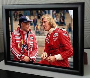 James-Hunt-amp-Niki-Lauda-F1-034-RUSH-034-Rare-Framed-Canvas-Print-Signed