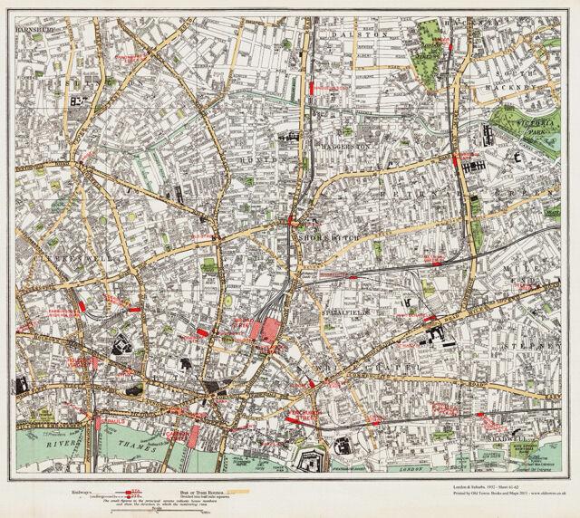 Shoreditch Whitechapel Hoxton Map London 1932 61 62 For Sale Online